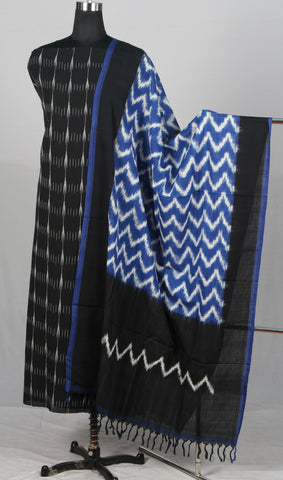 Handloom Pochampally ikat pure cotton dress material (2Pcs)-wuk02558