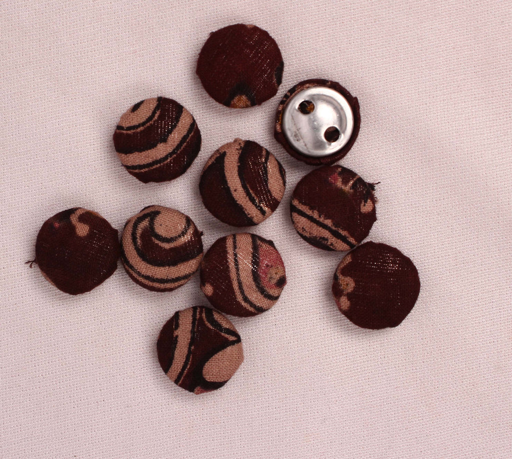 Handmade Small Fabric Buttons (Set Of 10)- WUK02102