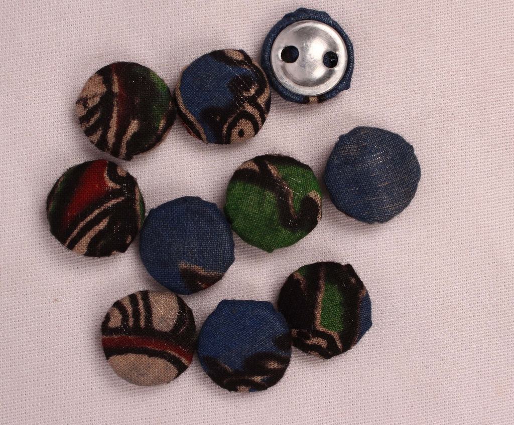 Handmade Small Fabric Buttons (Set Of 10)- WUK02103