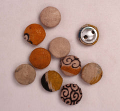 Handmade Small Fabric Buttons (Set Of 10)- WUK02120