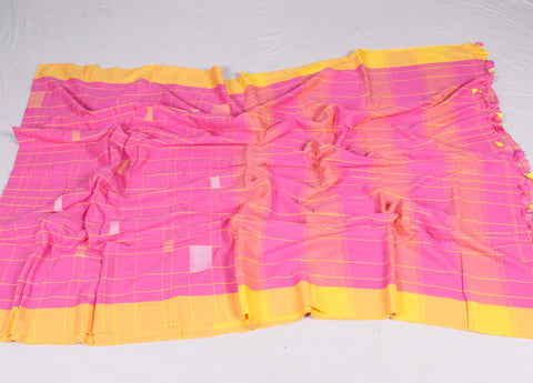 HANDLOOM Cotton Checks Saree-fDSSWLNSA3187