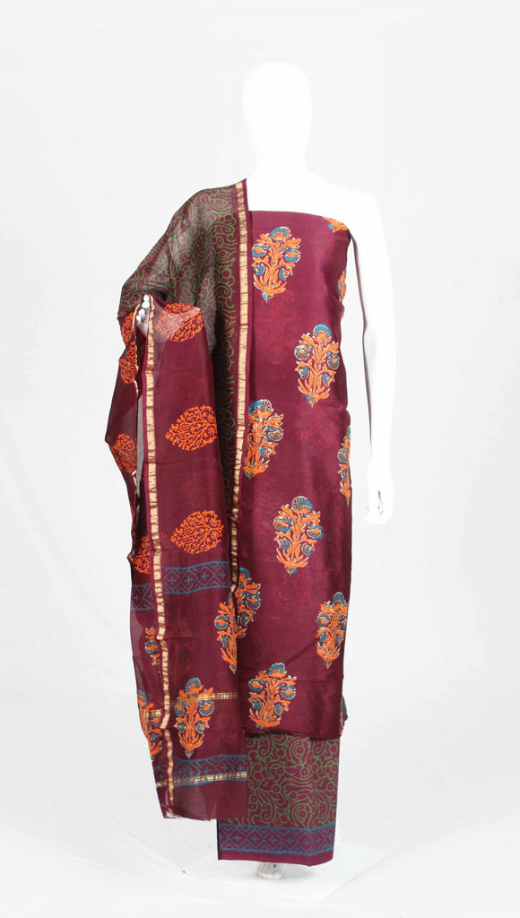 hand block printed chanderi silk dress material-frsvnchdm21910