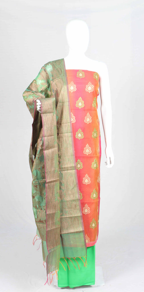 chanderi silk dress material with banaras dupatta - fdsgpchdmsk7141
