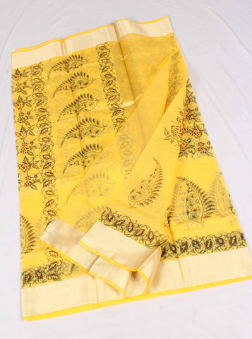 Kota Hand Block Printed Art Silk/Cotton Saree - fKOTA04300