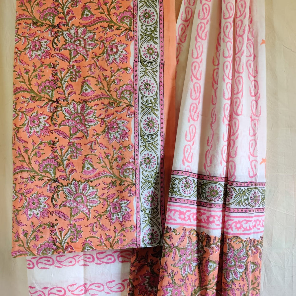 Cotton Hand Block Printed Dress Material