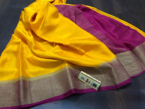 Mysore Wrinkle Crepe Silk Saree With Contrast Blouse