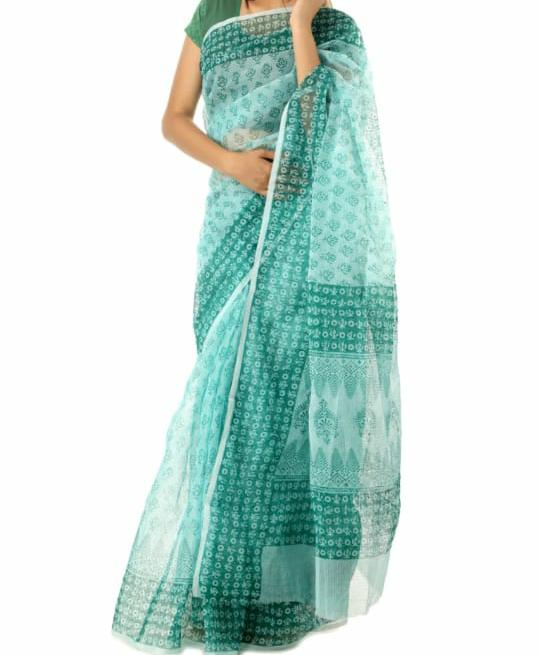 Kota Silk / Cotton Hand Block Printed Saree