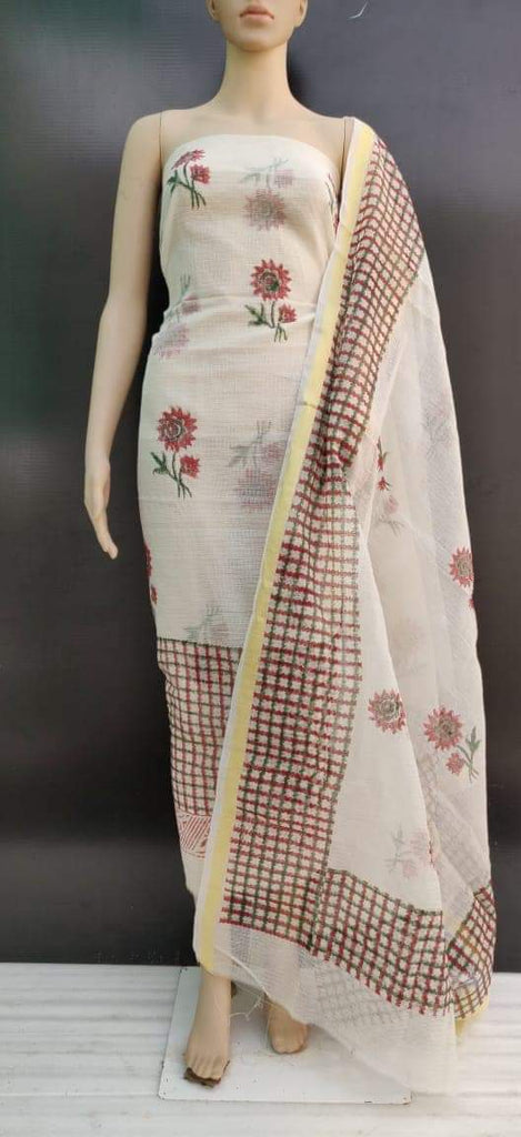 Kota Hand Block Printed Silk / Cotton Dress Material Without Bottom