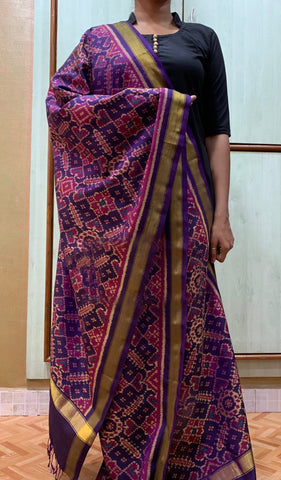 Purple Handwoven Pure Silk Patola Dupatta