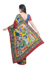 Pen Kalamkari Hand Painted Cotton Saree - WPS0678