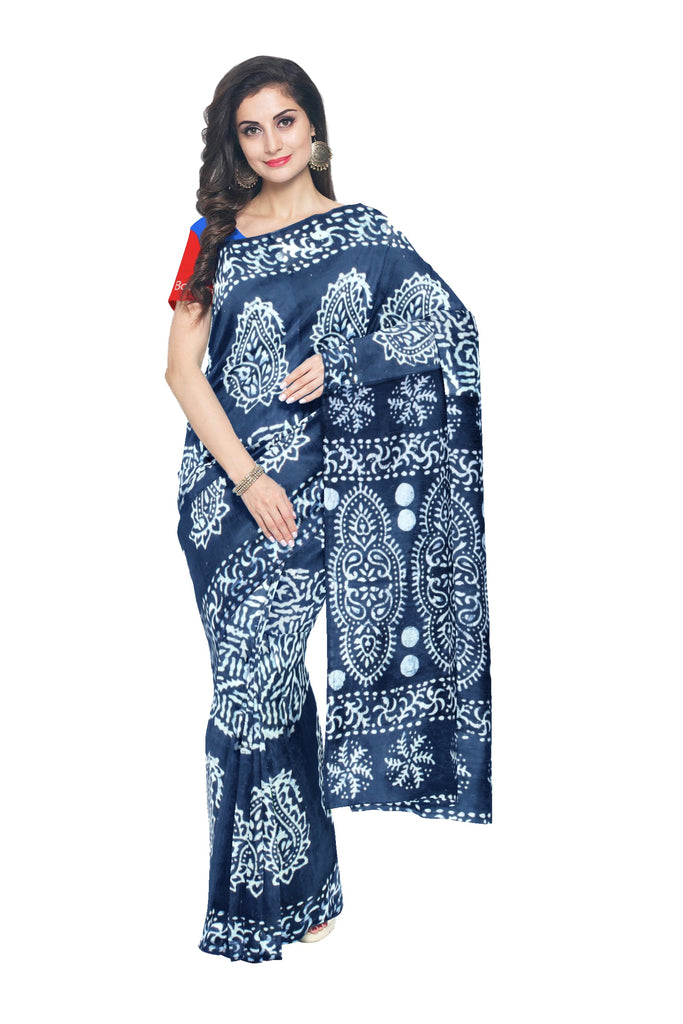 Handloom Batik Printed Cotton Saree - WPS0871