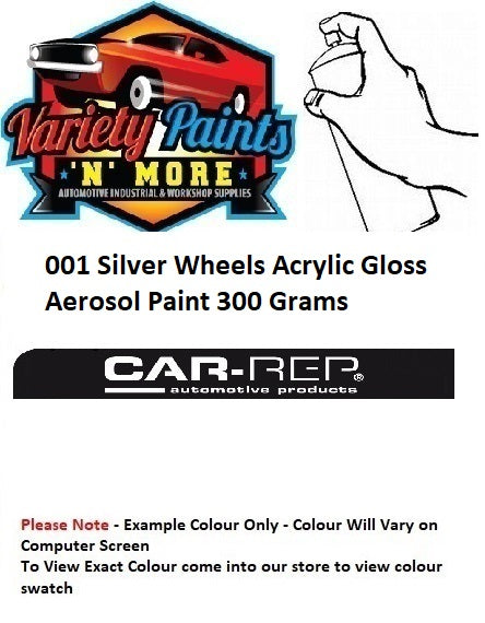 001 Silver Wheels Acrylic Gloss Aerosol Paint 300 Grams
