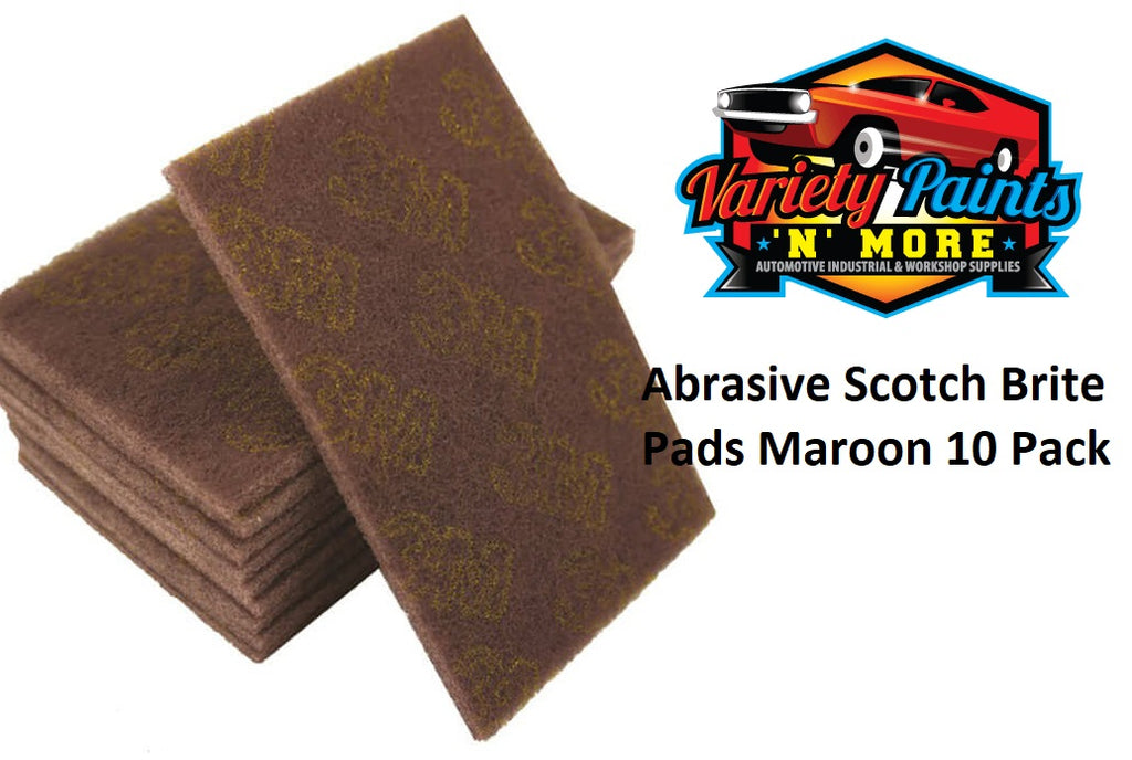 Abrasive Hand Pads Maroon 150mm X 230mm Box of 10 (Scotchbrite Equivalent)