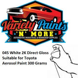 045 White 2K Direct Gloss Suitable for Toyota Aerosol Paint 300 Grams