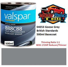 04E53 Goose Grey British Standards 500ml Valspar Performance Basecoat Paint Mix 888