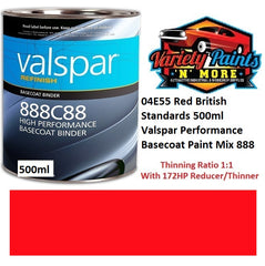 04E55 Red British Standards 500ml Valspar Performance Basecoat Paint Mix 888