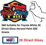 060 Suitable for Toyota White 2K Direct Gloss Aerosol Paint 300 Grams