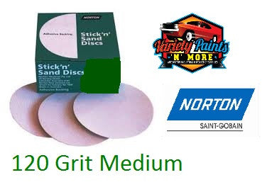 Norton No-Fill Stick & Sand Disc 150mm 120 Grit BOX 100
