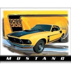 "METAL SIGN Ford Mustang Boss 302 12 1/2"" W x 16"" H"