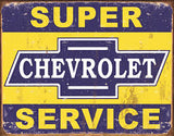 "METAL SIGN Super Chevy Service 16"" W x 12 1/2"" H"