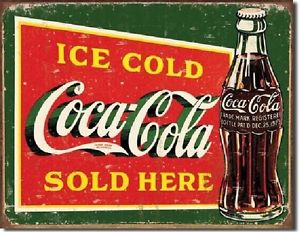 "METAL SIGN Coke-Ice Cold Green 16"" W x 12 1/2"" H"