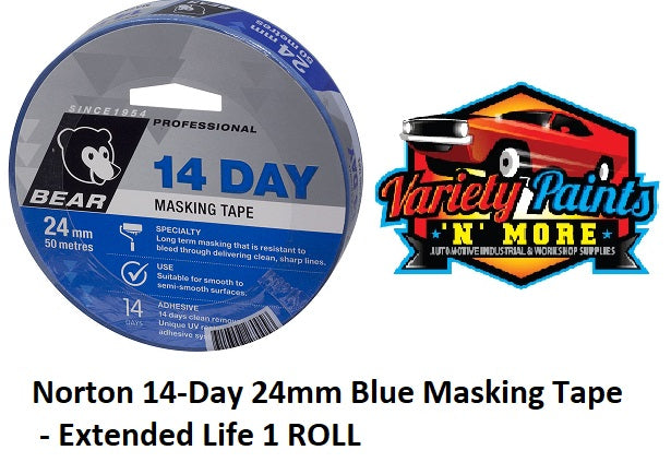 Norton 14-Day 24mm Blue Masking Tape - Extended Life 1 ROLL