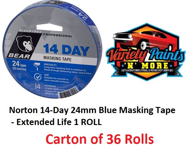 Norton 14-Day 24mm Blue Masking Tape - Extended Life 1 box of 36 Rolls