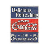 "METAL SIGN Coke-Delicious 5 Cents 12 1/2"" W x 16"" H"