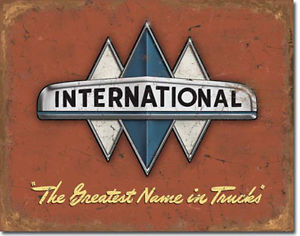 "METAL SIGN International Truck Logo 16"" x 12 1/2"""