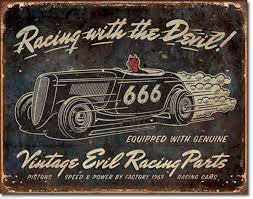 "METAL SIGN Vintage Evil Racing 16"" W X 12 1/2"" H"