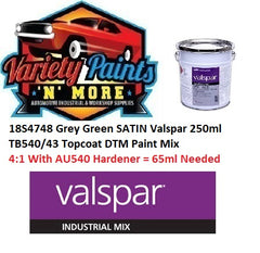18S4748 Grey Green SATIN Valspar 250ml TB540/43 Topcoat DTM Paint Mix