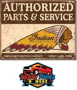 "METAL SIGN Indian Authorized Parts & Services 16"" W x 12 1/2"" H"