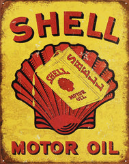 "METAL SIGN Motor OIL Shell Oil Can 12 1/2"" W X 16"" H"