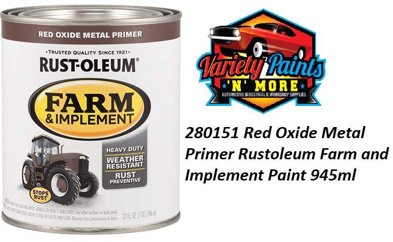 RustOleum Red Oxide Primer Farm & Implement Enamel Paint 946ml