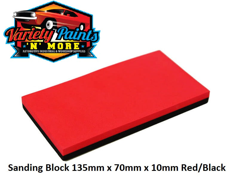 Sanding Block 135mm x 70mm x 10mm Red/Black