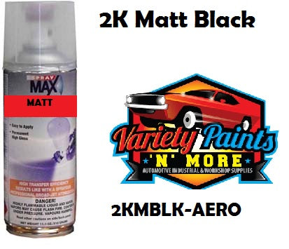 SprayMax 2K 2 Pack 10% Matt Black Spray Paint 400ml