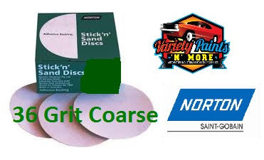 Norton No-Fill Stick & Sand Disc 150mm 36 Grit BOX 50