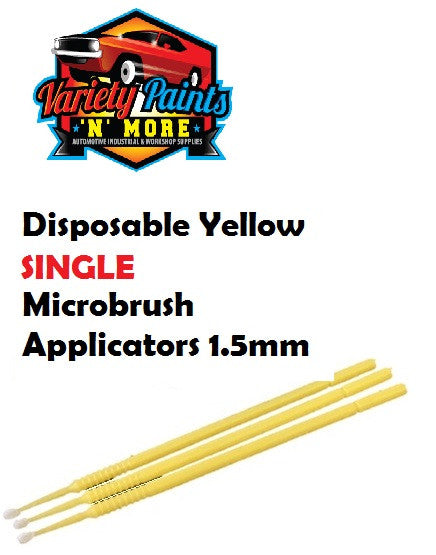Disposable Yellow SINGLE Microbrush Applicators 1.5mm T-30