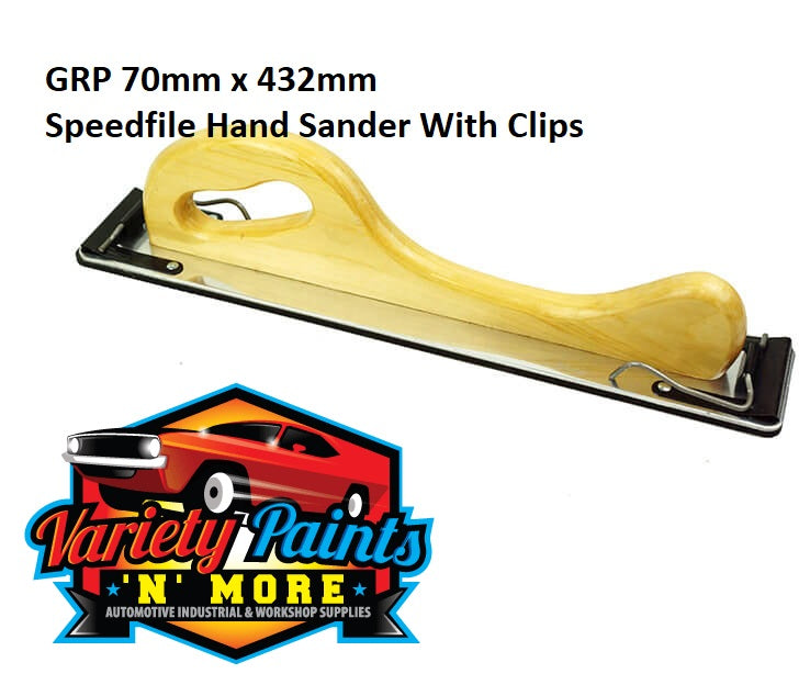 GRP 70mm x 432mm Speedfile Hand Sander With Clips Variety Paints N More