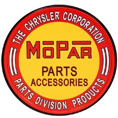 "METAL SIGN Mopar Parts 11 3/4"" Diameter"