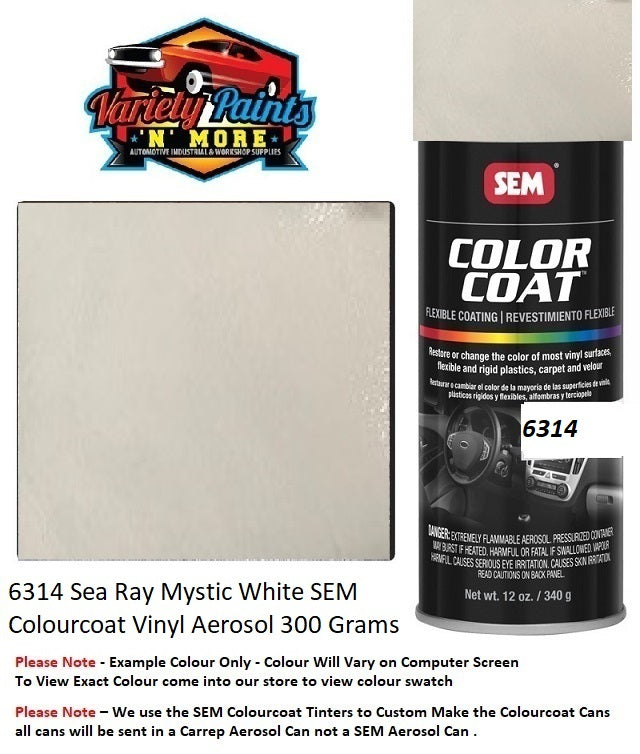 6314 Sea Ray Mystic White SEM Colourcoat Vinyl Aerosol 300 Grams