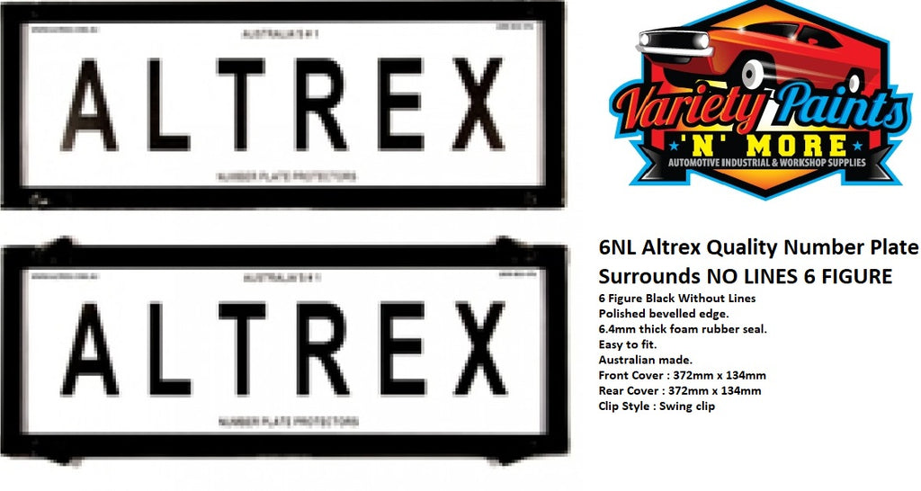 Altrex Number Plate Surrounds 6NL No Lines 6 Figure