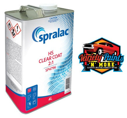 Spralac Clear Coat HS 2:1 2K 4 Litre SP4796  Variety Paints N More