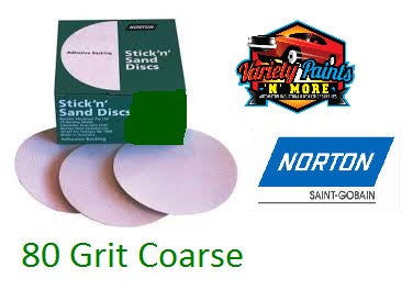 Norton No-Fill Stick & Sand Disc 150mm 80 Grit BOX 100