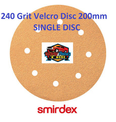 "Smirdex 240 GRIT SINGLE VELCRO DISC 200mm (8"")  8 Holes"