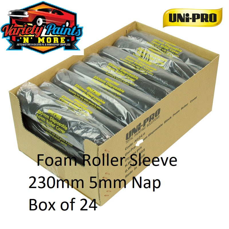Unipro Disposable Foam Roller Sleeve 230mm 5mm Nap Box of 24