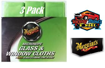 Meguiars No Smear Glass Cloth (GREEN) 40CM X 40CM 3 Pack