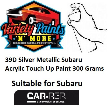 39D Silver Metallic Subaru Acrylic Touch Up Paint 300 Grams