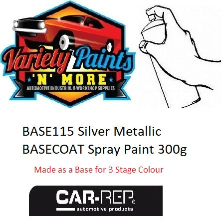 BASE115 Silver Metallic BASECOAT Spray Paint 300g