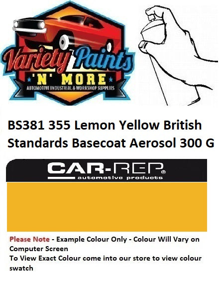 BS381 355 Lemon Yellow British Standards Basecoat Aerosol 300 Grams